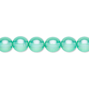 bead, czech pressed glass, pearlized ocean blue, 8mm round. sold per 16-inch strand, approximately 50 beads.