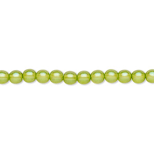 bead, czech pressed glass, pearlized olive green, 4mm round. sold per 16-inch strand, approximately 100 beads.