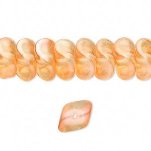 bead, czech pressed glass, pearlized orange, 12x8mm twisted rondelle. sold per 16-inch strand, approximately 70 beads.