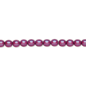 bead, czech pressed glass, pearlized purple, 4mm round. sold per 16-inch strand, approximately 100 beads.