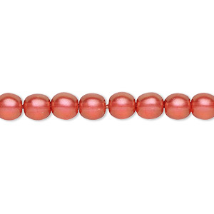 bead, czech pressed glass, pearlized rose, 6mm round. sold per 16-inch strand, approximately 65 beads.
