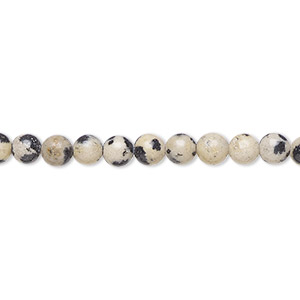bead, dalmatian jasper (natural), 4mm round, b grade, mohs hardness 6-1/2 to 7. sold per 16-inch strand.