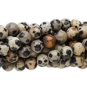 bead, dalmatian jasper (natural), 6mm round, c grade, mohs hardness 6-1/2 to 7. sold per pkg of (10) 16-inch strands.