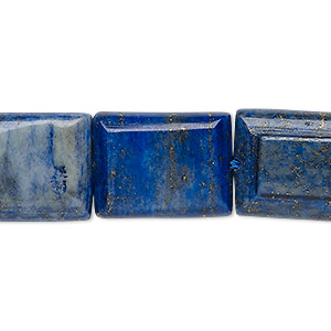 bead, denim lapis (dyed), 20x15mm-21x16mm flat rectangle, c grade, mohs hardness 5 to 6. sold per 15-inch strand.