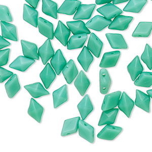 bead, diamonduo™, czech pressed glass, opaque green turquoise, 8x5mm faceted diamond with flat back and (2) 0.7-0.8mm holes. sold per 10-gram pkg, approximately 70 beads.