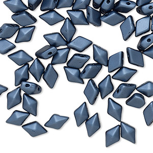 bead, diamonduo™, czech pressed glass, opaque pastel montana blue, 8x5mm faceted diamond with flat back and (2) 0.7-0.8mm holes. sold per 10-gram pkg, approximately 70 beads.