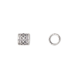 bead, dione and jbb findings, antiqued sterling silver, 7x7mm rondelle with lattice pattern, 5mm hole. sold per pkg of 4.