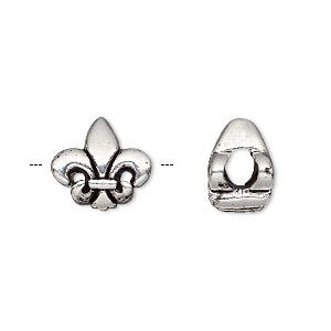 bead, dione, antique silver-plated pewter (tin-based alloy) and epoxy, 13x13mm double-sided fleur-de-lis, 5mm hole. sold individually.
