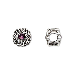 bead, dione, antique silver-plated pewter (tin-based alloy) and swarovski crystal rhinestone, amethyst purple, 11mm double-sided round with star design, 5mm hole. sold individually.