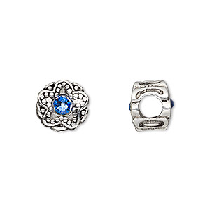 bead, dione, antique silver-plated pewter (tin-based alloy) and swarovski crystal rhinestone, sapphire blue, 11mm double-sided round with star design, 5mm hole. sold individually.
