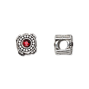 bead, dione, antique silver-plated pewter (tin-based alloy) and swarovski crystal rhinestone, garnet red, 10mm double-sided round, 5mm hole. sold individually.
