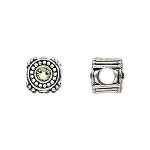 bead, dione, antique silver-plated pewter (tin-based alloy) and swarovski crystal rhinestone, peridot green, 10mm double-sided round, 5mm hole. sold individually.