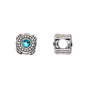 bead, dione, antique silver-plated pewter (tin-based alloy) and swarovski crystal rhinestone, blue zircon, 10mm double-sided round, 5mm hole. sold individually.