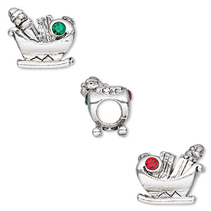 bead, dione, antique silver-plated pewter (tin-based alloy) with crystal rhinestone, light siam and emerald, 14x14mm double-sided christmas sleigh, 5mm hole. sold individually.