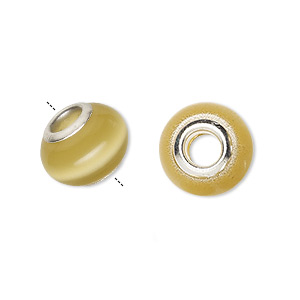 bead, dione, cats eye glass and silver-plated brass grommets, brown, 13x10mm-14x10mm rondelle with 4.5-5mm hole. sold per pkg of 6.