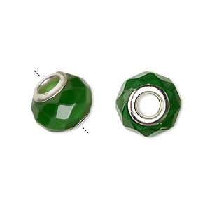 bead, dione, cats eye glass and silver-plated brass grommets, dark green, 13x10mm-14x10mm faceted rondelle with 4.5-5mm hole. sold per pkg of 4.