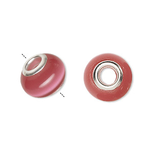 bead, dione, cats eye glass and silver-plated brass grommets, dark pink, 13x10mm-14x10mm rondelle with 4.5-5mm hole. sold per pkg of 6.