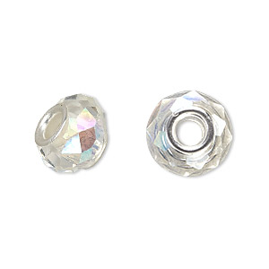 bead, dione, celestial crystal and silver-plated brass, 32-facet, clear ab, 13x9mm-14x10mm faceted rondelle with 4.5mm hole. sold per pkg of 10.