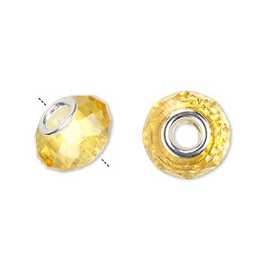 bead, dione, celestial crystal and silver-plated brass, 32-facet, gold, 13x9mm-14x10mm faceted rondelle with 4.5mm hole. sold per pkg of 10.