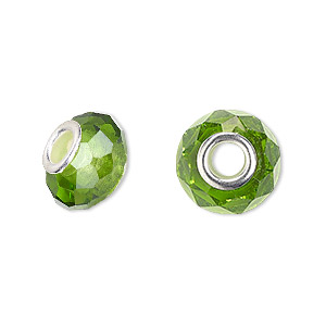 bead, dione, celestial crystal and silver-plated brass, 32-facet, green, 13x9mm-14x10mm faceted rondelle with 4.5mm hole. sold per pkg of 10.