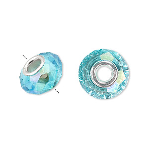 bead, dione, celestial crystal and silver-plated brass, 32-facet, turquoise blue ab, 13x9mm-14x10mm faceted rondelle with 4.5mm hole. sold per pkg of 10.