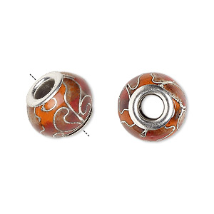 bead, dione, cloisonne, enamel and silver-plated brass grommets, pomegranate, 14x10mm rondelle with flower design and 5mm hole. sold per pkg of 4.