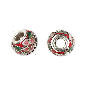 bead, dione, cloisonne, enamel and silver-plated brass grommets, red / pink / green, 14x10mm rondelle with flower and leaves design, 5mm hole. sold per pkg of 4.