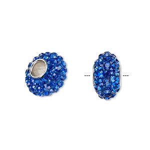 bead, dione, czech glass rhinestone / epoxy / imitation rhodium-plated brass grommet, blue, 13x8mm-14x8mm rondelle, 4.5mm hole. sold individually.