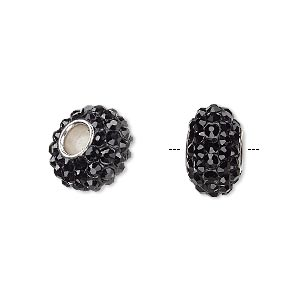 bead, dione, czech glass rhinestone / epoxy / imitation rhodium-plated brass grommet, black, 13x8mm-14x8mm rondelle, 4.5mm hole. sold individually.