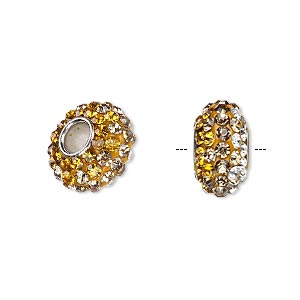 bead, dione, czech glass rhinestone / epoxy / imitation rhodium-plated brass grommet, topaz / light topaz / clear, 13x8mm-14x8mm rondelle with shaded design, 4.5mm hole. sold individually.