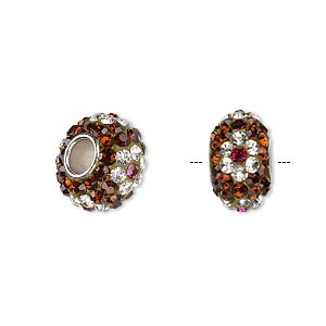bead, dione, czech glass rhinestone / epoxy / imitation rhodium-plated brass grommet, root beer / clear / pink, 13x8mm-14x8mm rondelle with flower design, 4.5mm hole. sold individually.