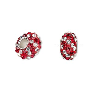 bead, dione, czech glass rhinestone / epoxy / imitation rhodium-plated brass grommet, red and clear, 13x8mm-14x8mm rondelle with spiral design, 4.5mm hole. sold individually.