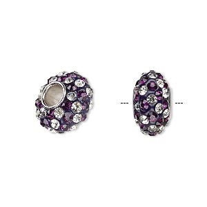 bead, dione, czech glass rhinestone / epoxy / imitation rhodium-plated brass grommet, purple and clear, 13x8mm-14x8mm rondelle with spiral design, 4.5mm hole. sold individually.