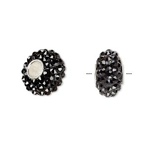 bead, dione, czech glass rhinestone / epoxy / sterling silver grommets, black, 14x8mm rondelle, 4.5mm hole. sold individually.