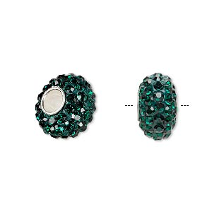 bead, dione, czech glass rhinestone / epoxy / sterling silver grommets, green, 14x8mm rondelle, 4.5mm hole. sold individually.