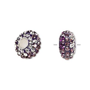 bead, dione, czech glass rhinestone / epoxy / sterling silver grommets, purple / light purple / clear, 14x8mm rondelle with shaded design, 4.5mm hole. sold individually.