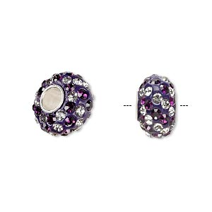 bead, dione, czech glass rhinestone / epoxy / sterling silver grommets, purple and clear, 14x8mm rondelle with spiral design, 4.5mm hole. sold individually.