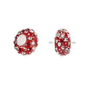 bead, dione, czech glass rhinestone / epoxy / sterling silver grommets, red and clear, 14x8mm rondelle with spiral design, 4.5mm hole. sold individually.