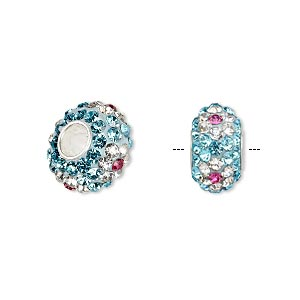 bead, dione, czech glass rhinestone / epoxy / sterling silver grommets, turquoise blue / clear / pink, 14x8mm rondelle with flower design, 4.5mm hole. sold individually.