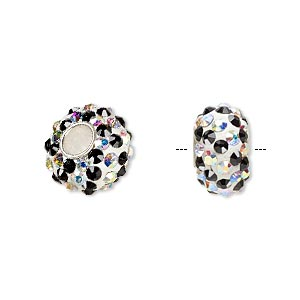 bead, dione, czech glass rhinestone / epoxy / sterling silver grommets, white / clear ab / black, 14x8mm rondelle with spiral design, 4.5mm hole. sold individually.