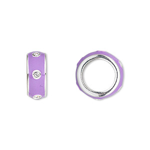 bead, dione, enamel / swarovski crystals / silver-plated pewter (zinc-based alloy), lavender and crystal clear, 14x5.5mm rondelle with 9.5mm hole. sold individually.