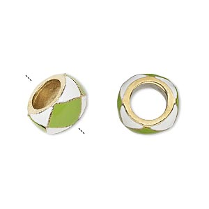 bead, dione, enamel and gold-finished pewter (zinc-based alloy), opaque lime green and white, 13x7mm rondelle with 7mm hole. sold individually.