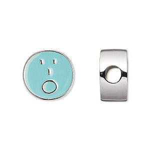 bead, dione, enamel and silver-finished pewter (zinc-based alloy), aqua blue, 16mm double-sided flat round with surprised emoticon face and 4mm hole. sold individually.