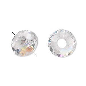 bead, dione, glass, 32-facet, clear ab, 14x8mm faceted rondelle with 5mm hole. sold per pkg of 12.