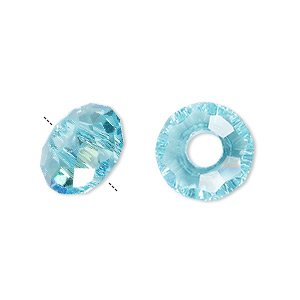 bead, dione, glass, 32-facet, turquoise blue ab, 14x8mm faceted rondelle with 5mm hole. sold per pkg of 12.