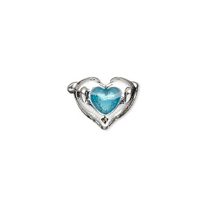 bead, dione, glass and antique silver-plated pewter (tin-based alloy), blue, 16x11mm double-sided double dolphin with heart, 5mm hole. sold individually.