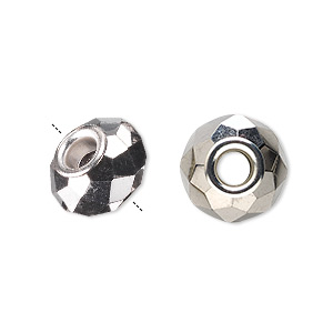 bead, dione, glass and silver-plated brass grommets, 32-facet, opaque metallic dark silver, 14x9mm faceted rondelle with 4-4.5mm hole. sold per pkg of 6.