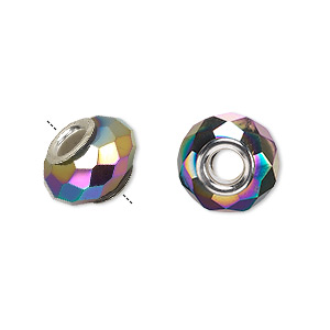 bead, dione, glass and silver-plated brass grommets, 32-facet, rainbow opaque metallic, 14x9mm faceted rondelle with 4-4.5mm hole. sold per pkg of 6.