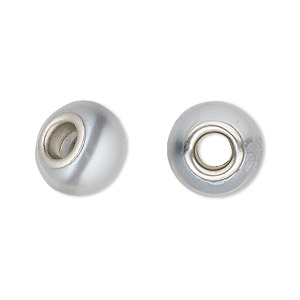 bead, dione, glass pearl with silver-plated brass grommets, light grey, 12x10mm-14x10mm rondelle, 4.5-5mm hole. sold per pkg of 4.