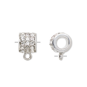 bead, dione, glass rhinestone and imitation rhodium-plated pewter (zinc-based alloy), clear, 10x9mm round tube with closed loop, 5.5mm hole. sold per pkg of 2.
